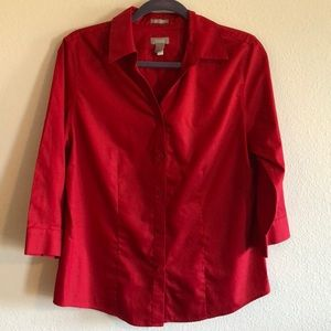Wrinkle resistant red button up